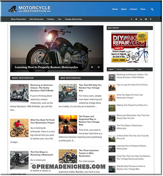 Motorcycle Restoration PLR Site