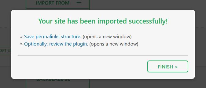 finish import