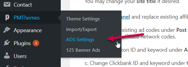 go to ad settings