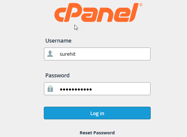 cpanel login box