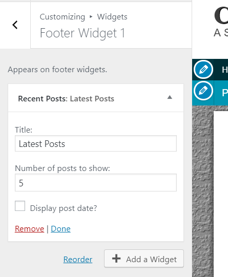 change footer widget contents