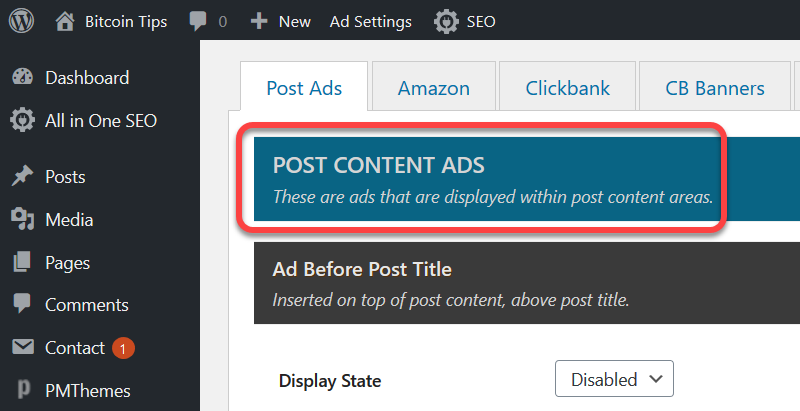 post content ads