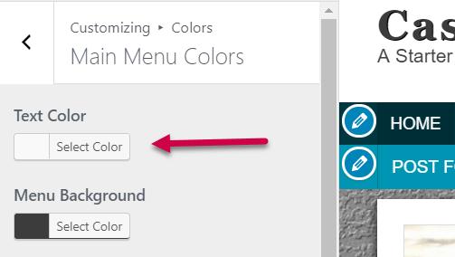 main navigation font color