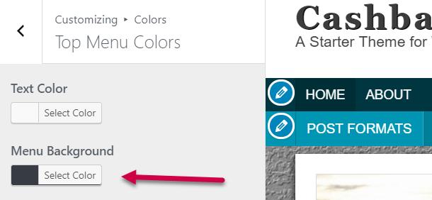 top navigation background color