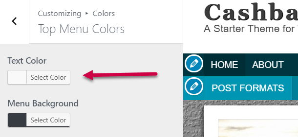 top navigation font color