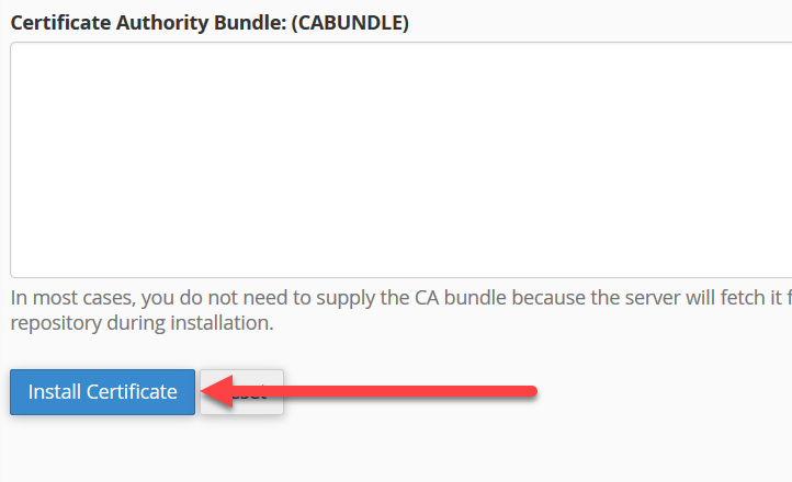 install certificate button cpanel