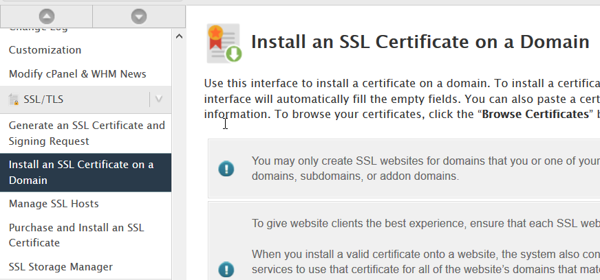 install ssl certificate domain page
