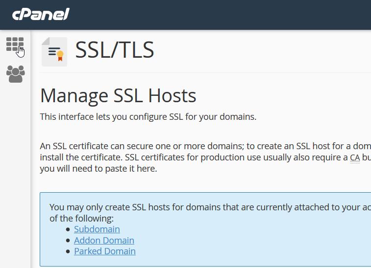 manage ssl hosts page