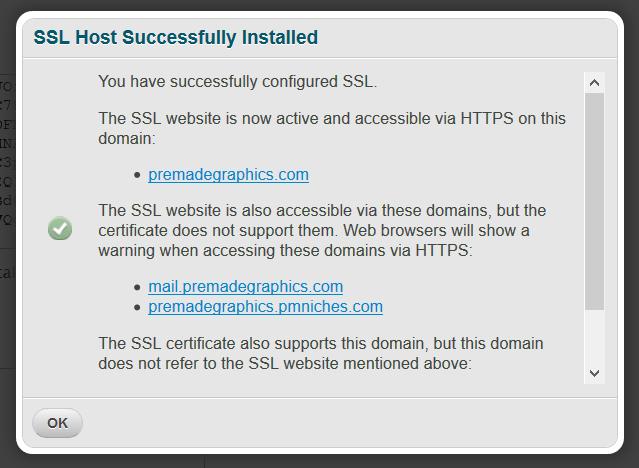 ssl host successfully installed