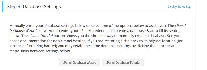 step 3: database settings