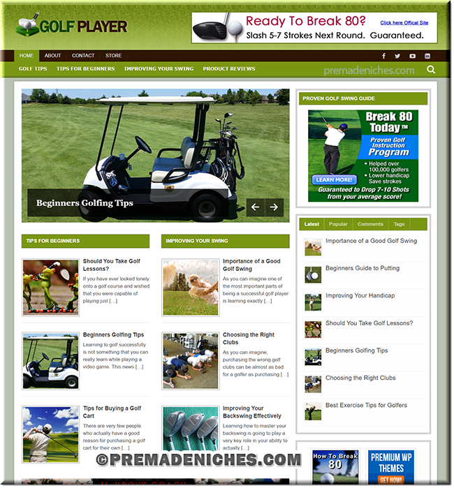 golf training niche plr website