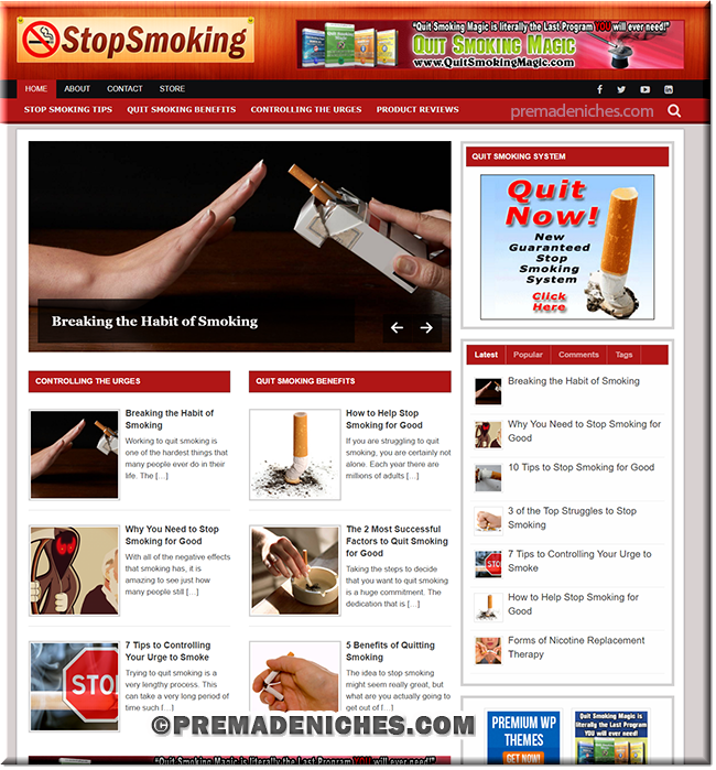 stop smoking premade wordpress blog