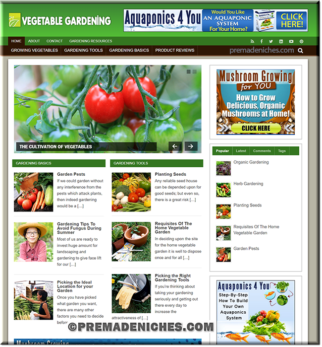Vegetable Gardening pre made blog