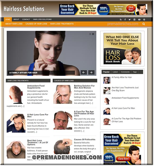 Hair Loss Niche PreMade Blog