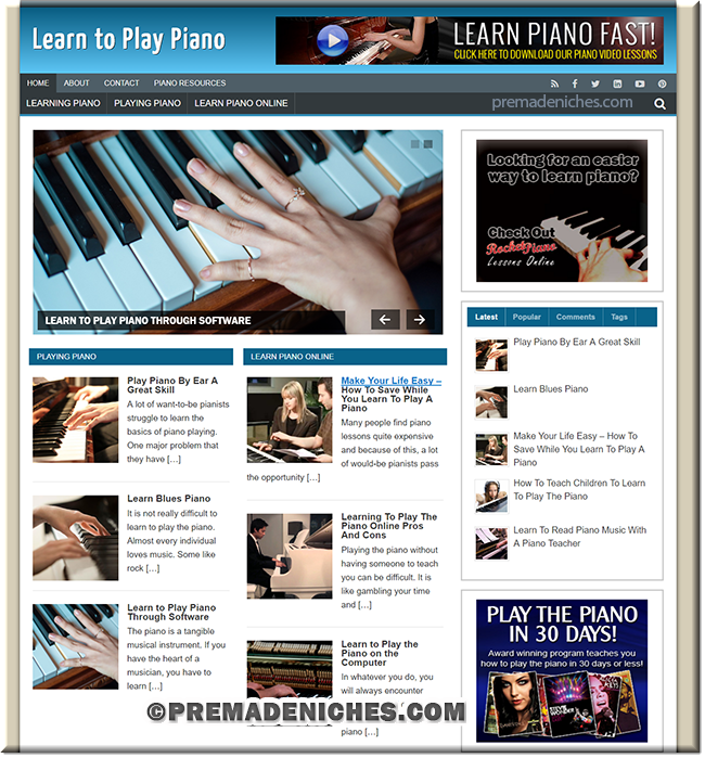 Learn Piano Turnkey PLR Blog