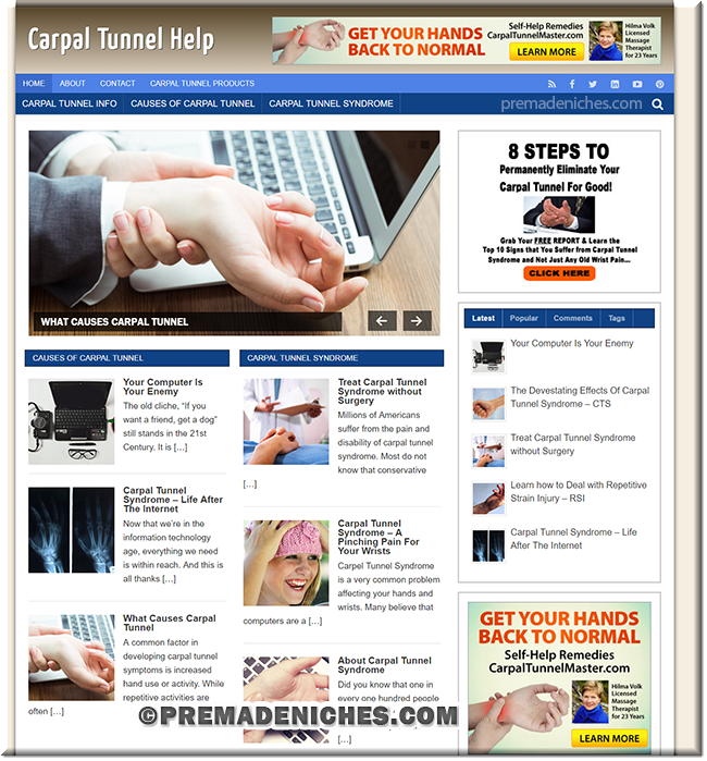 carpal tunnel wordpress website