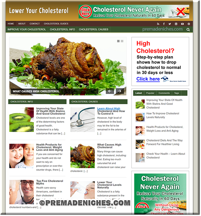 lower cholesterol turnkey wordpress site