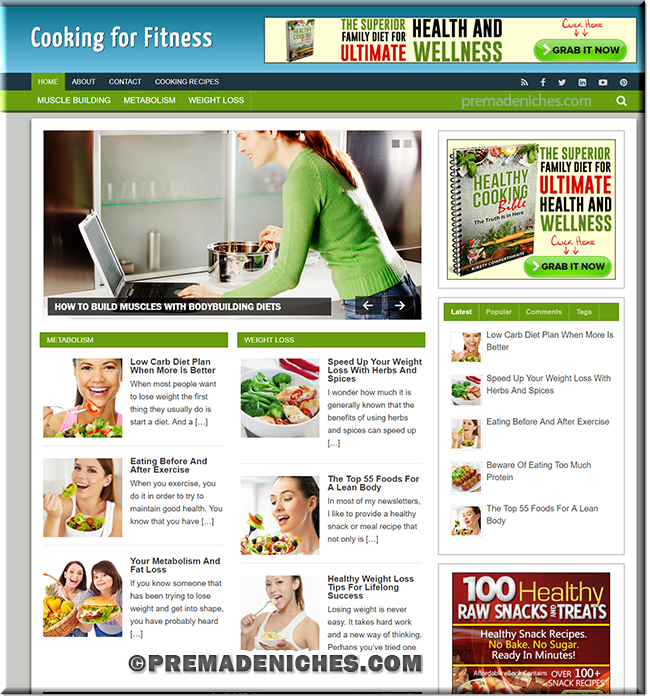 Cooking for Fitness PLR Blog