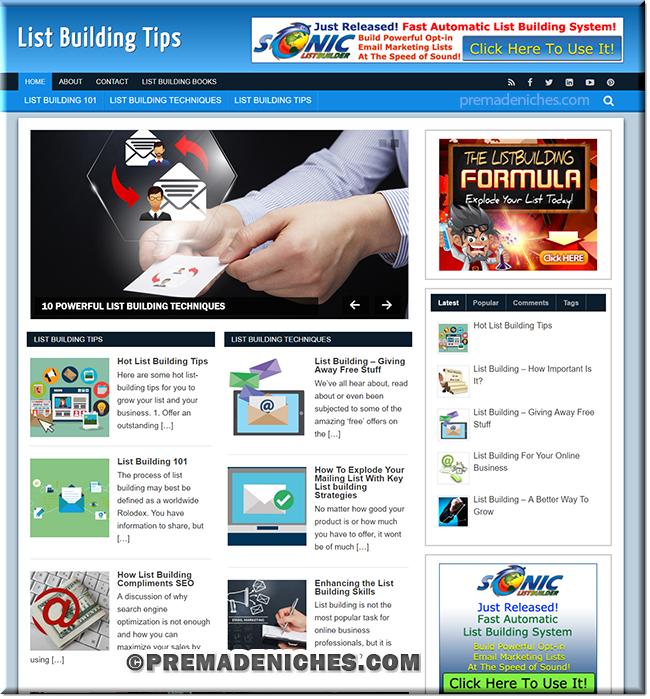 List Building WordPress PLR Niche Blog