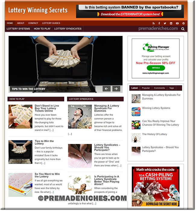 Lottery Niche Ready Made Starter Blog
