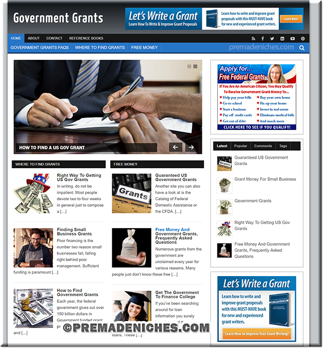 Government Grants Pre Made Blog
