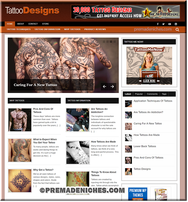 Tattoo Designs PLR Blog Package