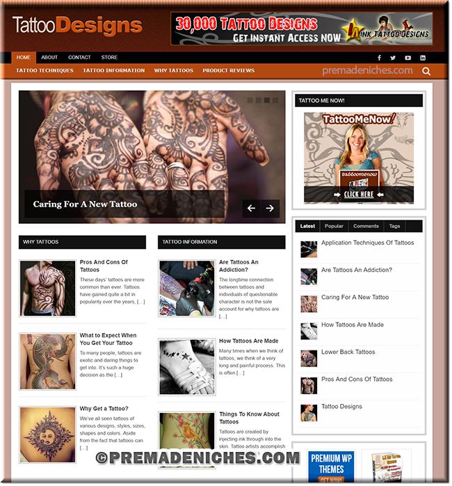 tatto designs niche blog package
