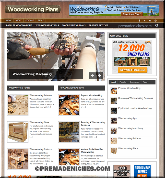 wood working plans premade wordpress site