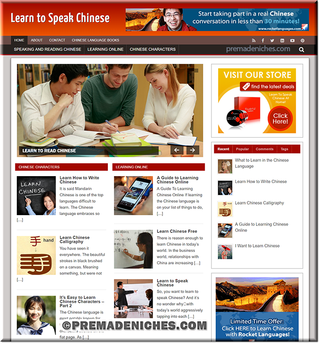 pre made niche site learn chinese