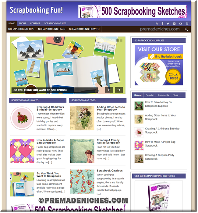 scrapbooking pre made site