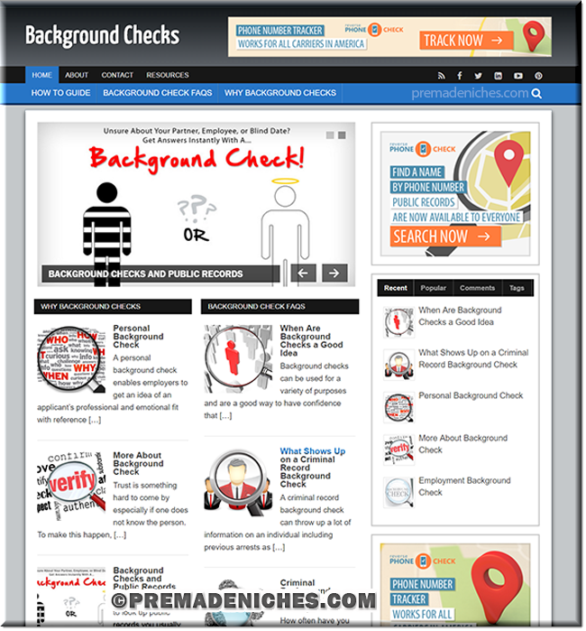 background check ready made niche website