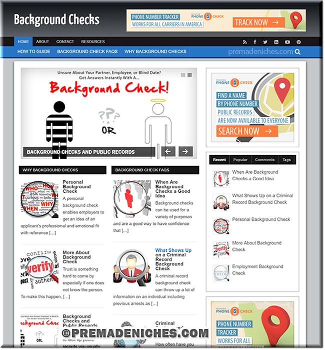 background check ready made niche website