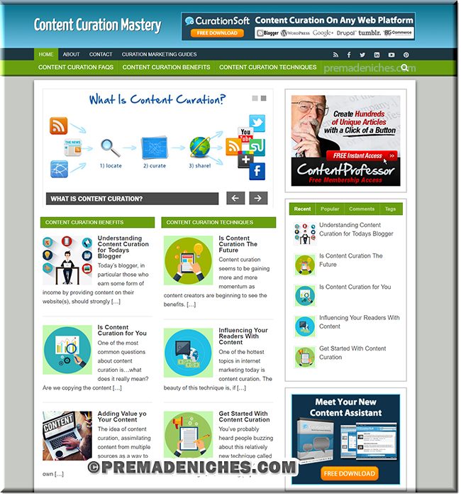content curation ready made niche blog