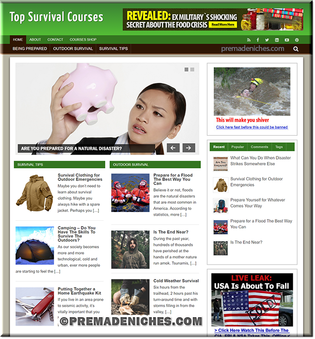 survival course ready made wordpress website
