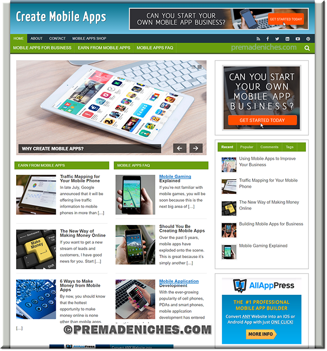 create mobile apps wordpress website