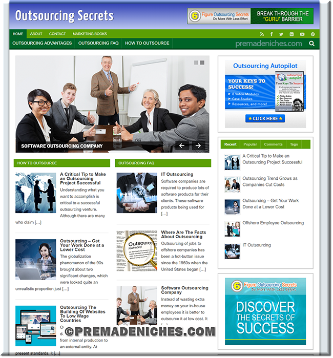 outsourcing pre made niche website