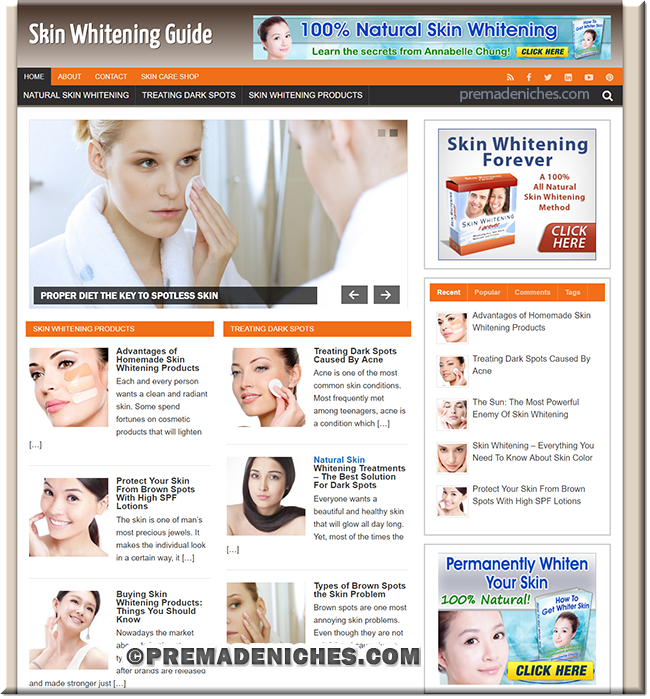 skin whitening premade website