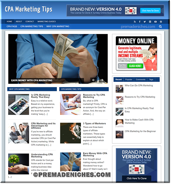 cpa marketing clickbank turnkey site