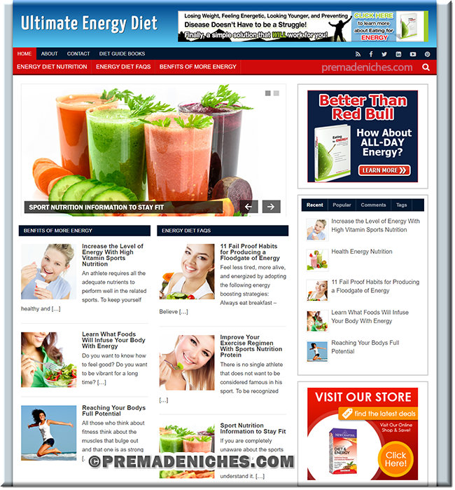 energey diet custom wordpress site