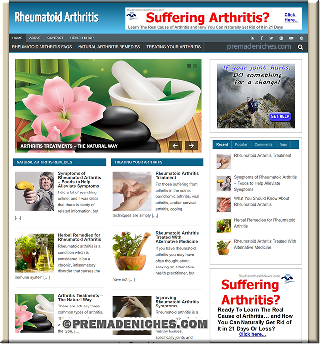 rheumatiod pre made niche website