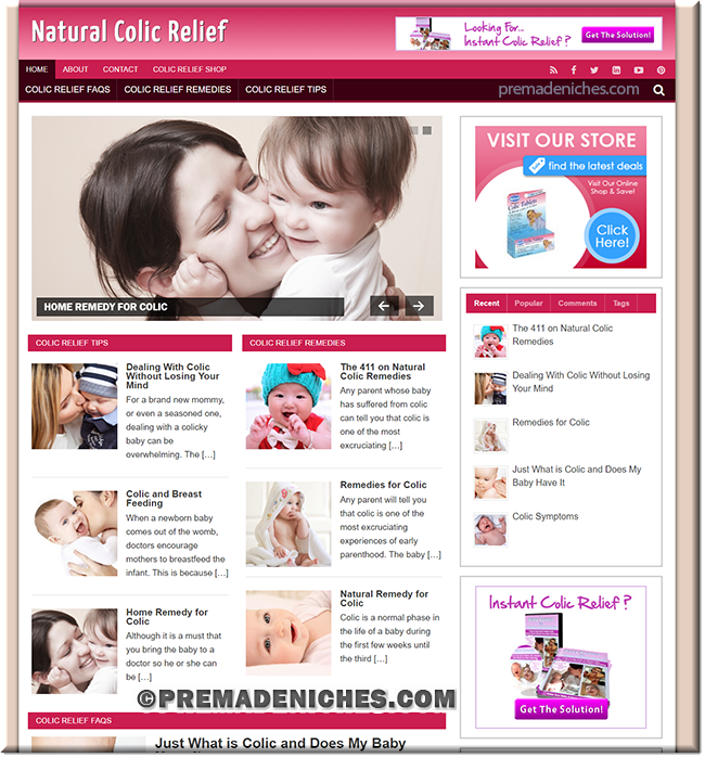 colic releif wordpress plr site