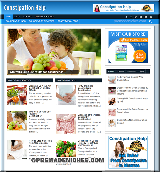 constipation ready made plr website