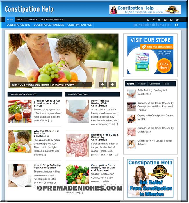 constipation ready made plr website