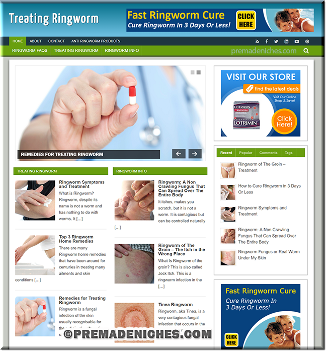 ringworm plr wordpress website
