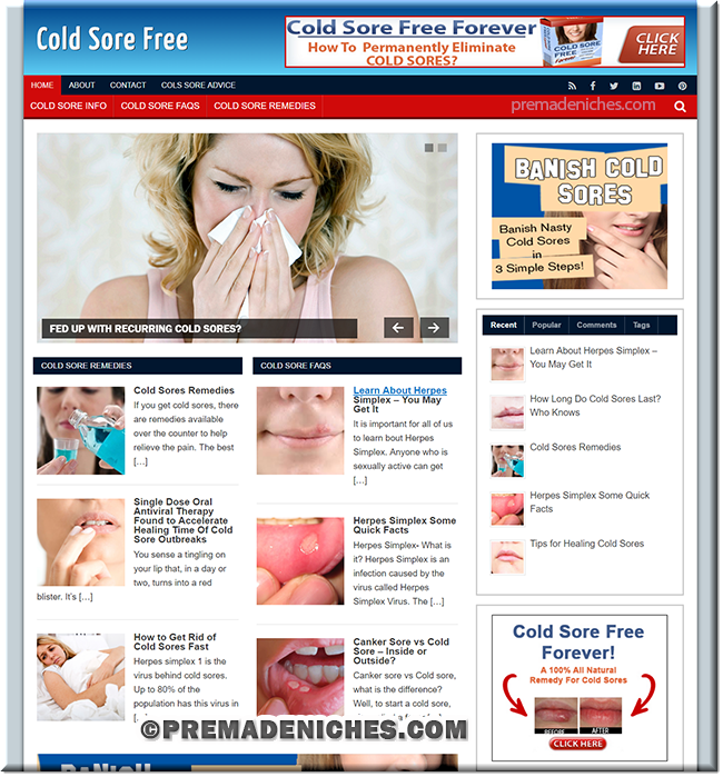 cold sores custom wordpress site