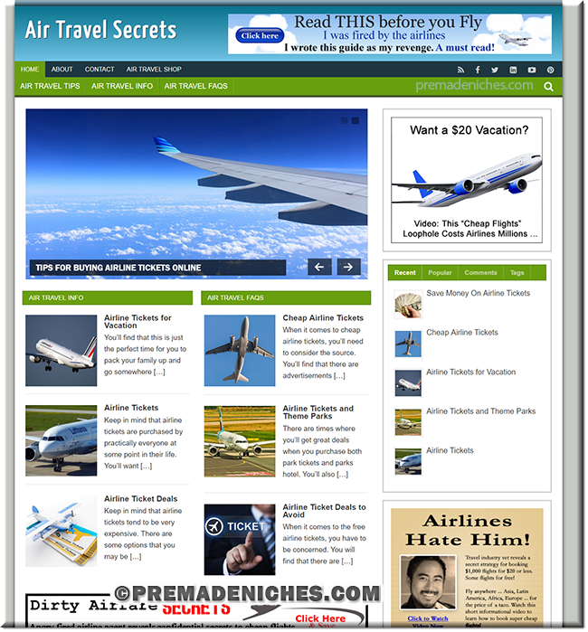 air travel premium wordpress site