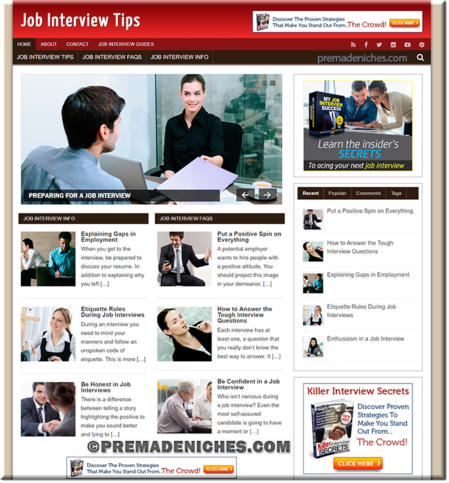 job interview affiliate sites