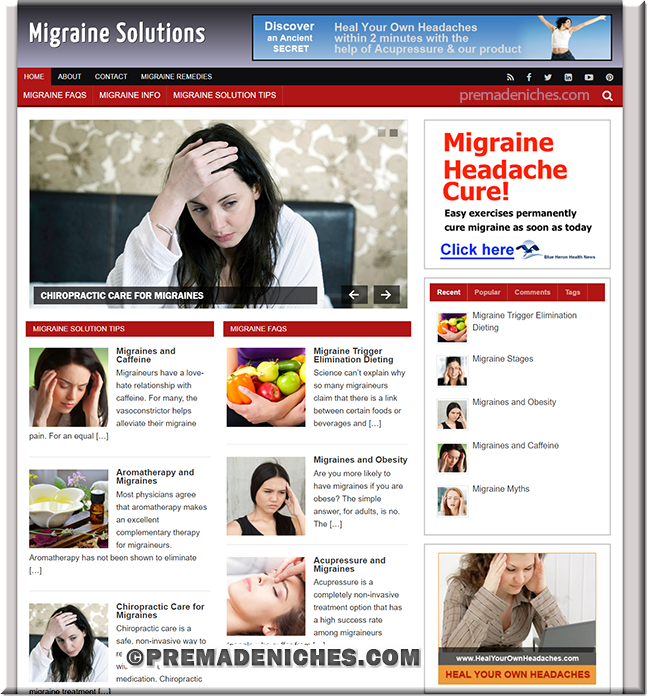 migraine solution custom wordpress website