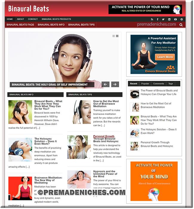 binaural beats turnkey wordpress blog