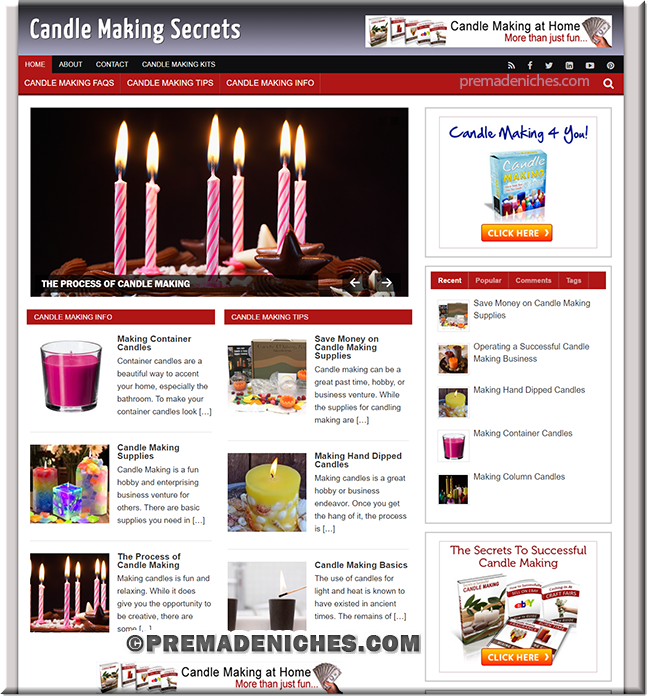 candle making turnkey web site